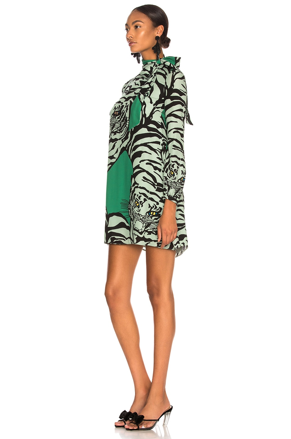 Image 3 of Valentino Georgette Tiger Print Dress in Green & Powder Green