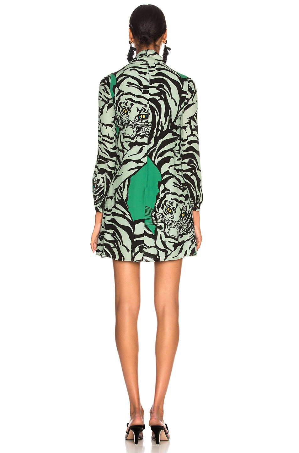 Image 4 of Valentino Georgette Tiger Print Dress in Green & Powder Green