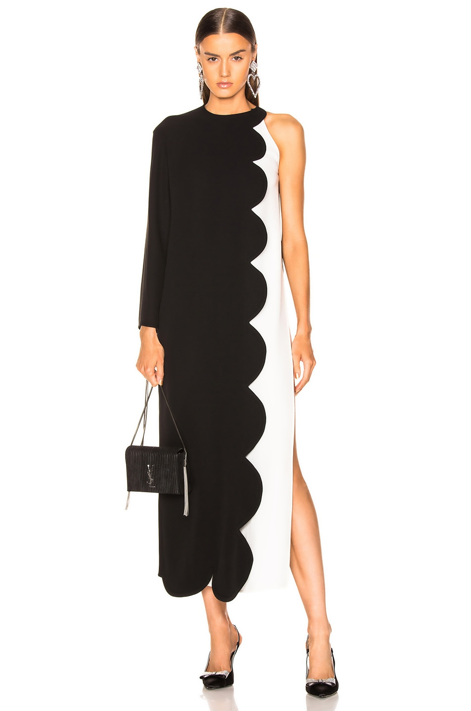 Image 1 of Valentino Scallop Trim Layered Dress in Black & Ivory