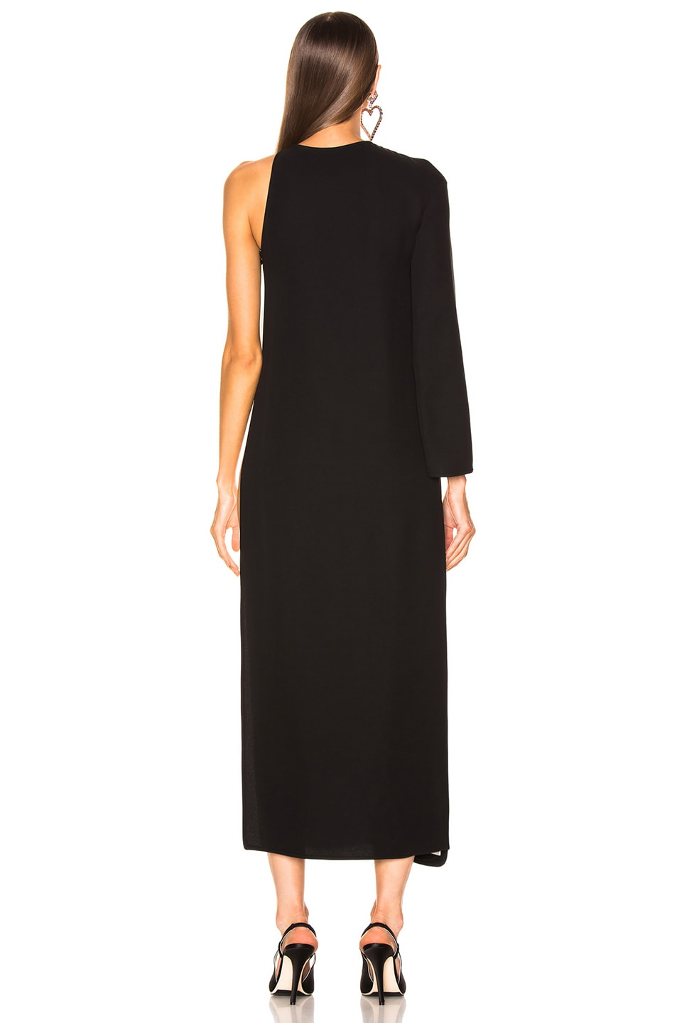 Image 4 of Valentino Scallop Trim Layered Dress in Black & Ivory