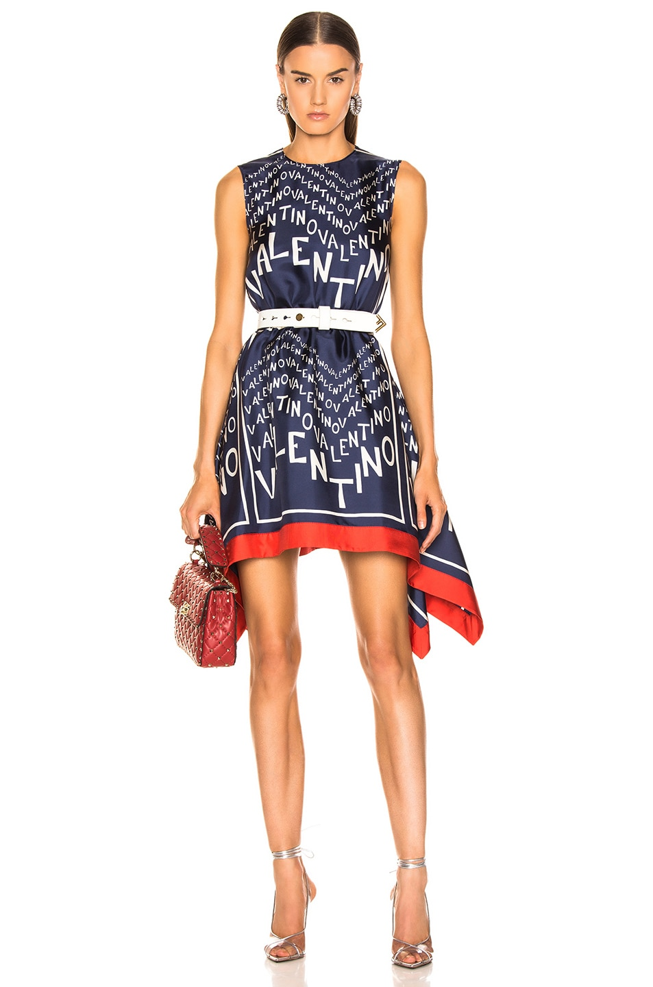 Image 1 of Valentino Chevron Dress in Pure Blue & Ivory