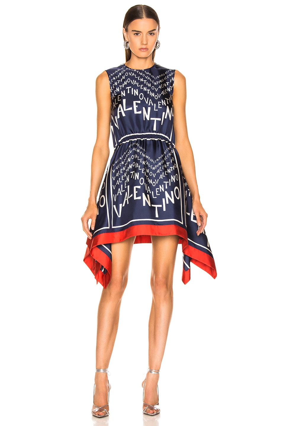 Image 2 of Valentino Chevron Dress in Pure Blue & Ivory