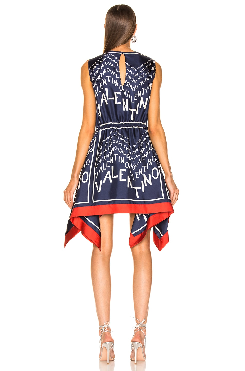 Image 4 of Valentino Chevron Dress in Pure Blue & Ivory