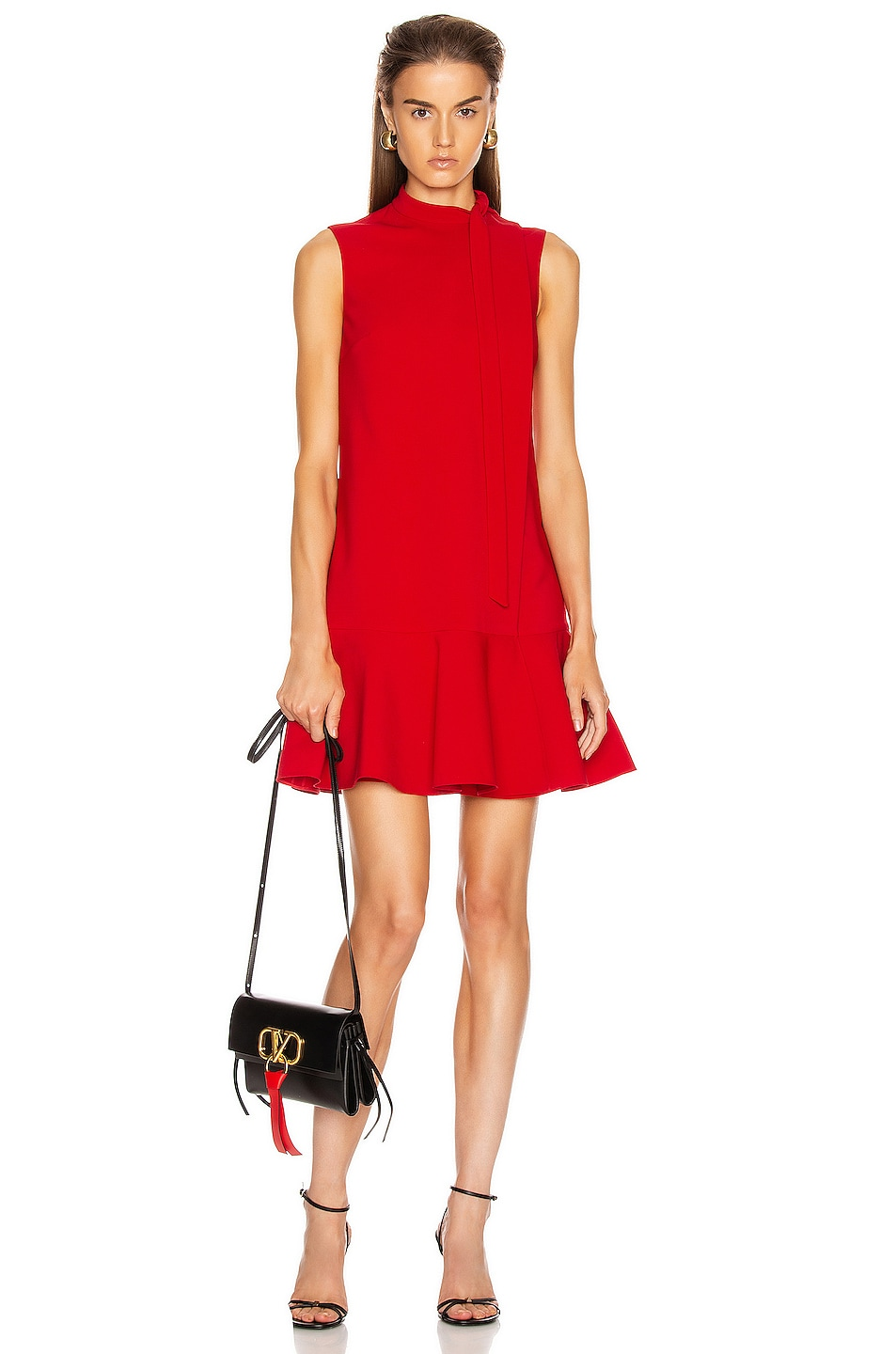 Image 1 of Valentino Sleeveless Peplum Dress in Red
