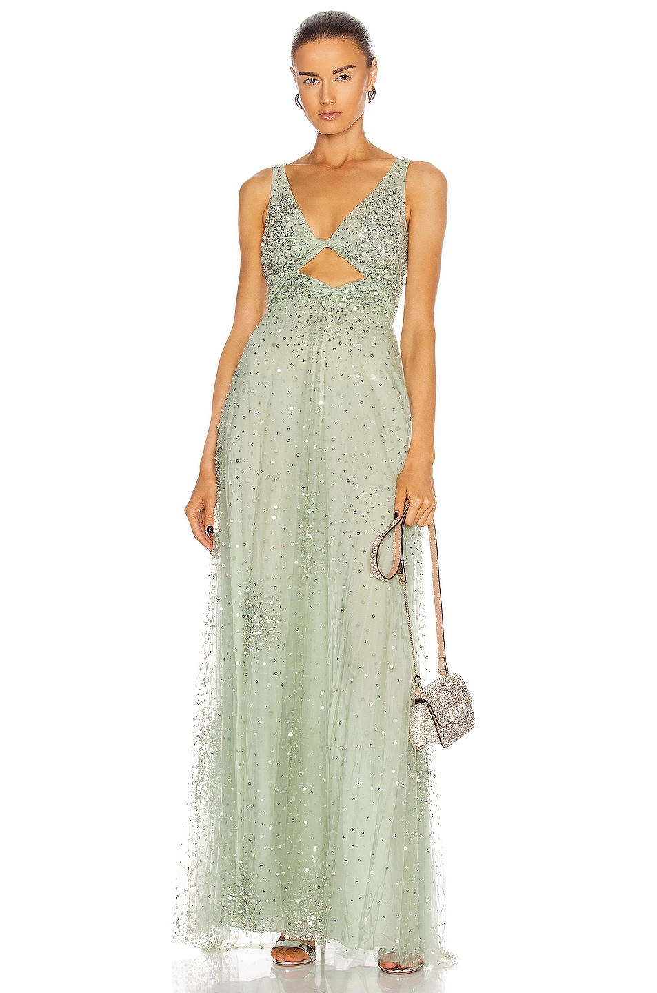 Image 1 of Valentino Embellished Gown in Argento & Malachite
