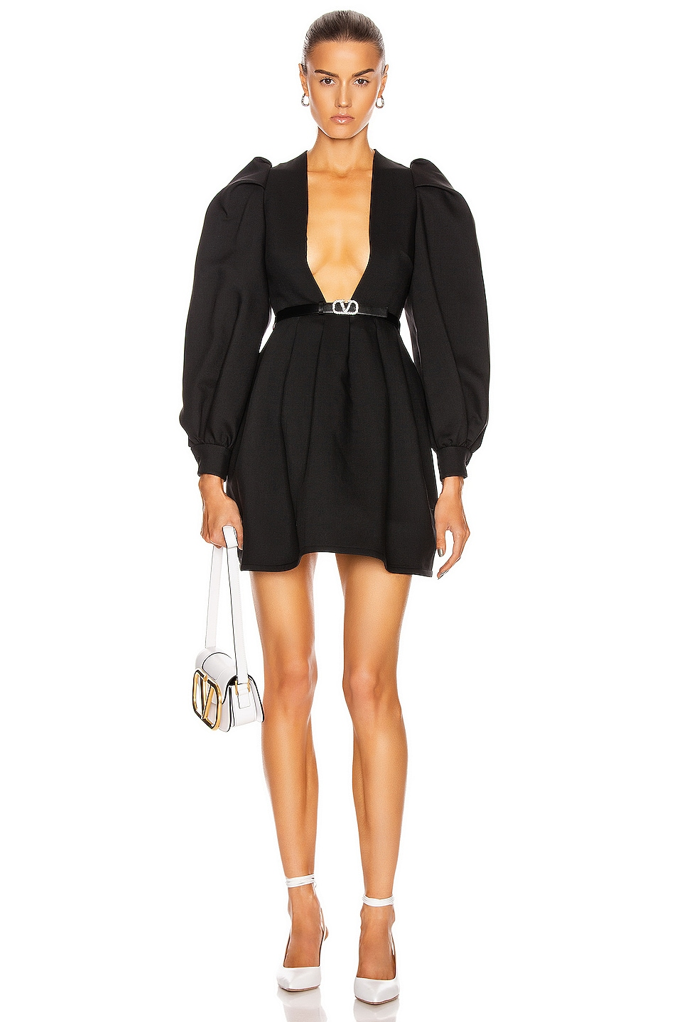 Image 1 of Valentino Plunging Long Sleeve Mini Dress in Nero
