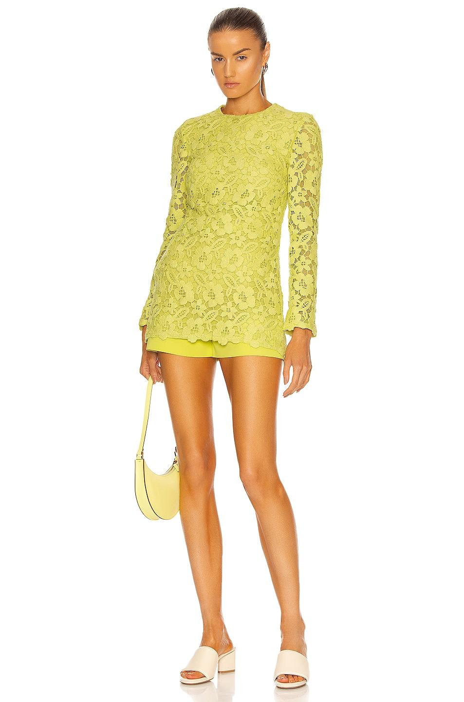 Image 1 of Valentino Long Sleeve Mini Dress in Flash Green