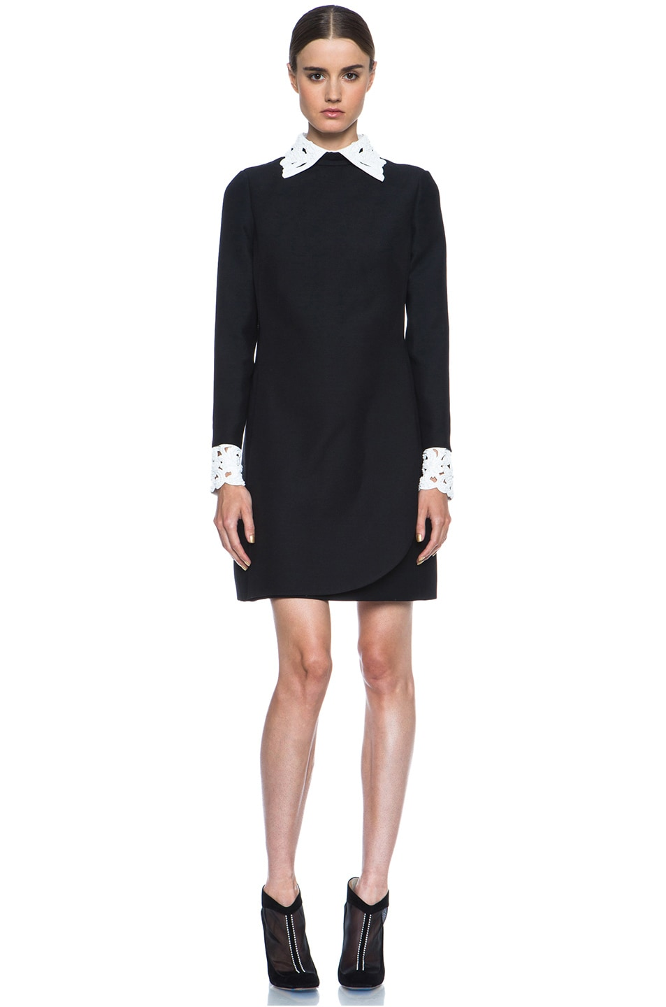 Image 1 of Valentino Embroidered Collar and Cuff Wool-Blend Dress in Black