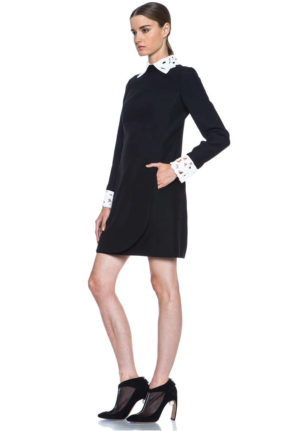 Image 2 of Valentino Embroidered Collar and Cuff Wool-Blend Dress in Black