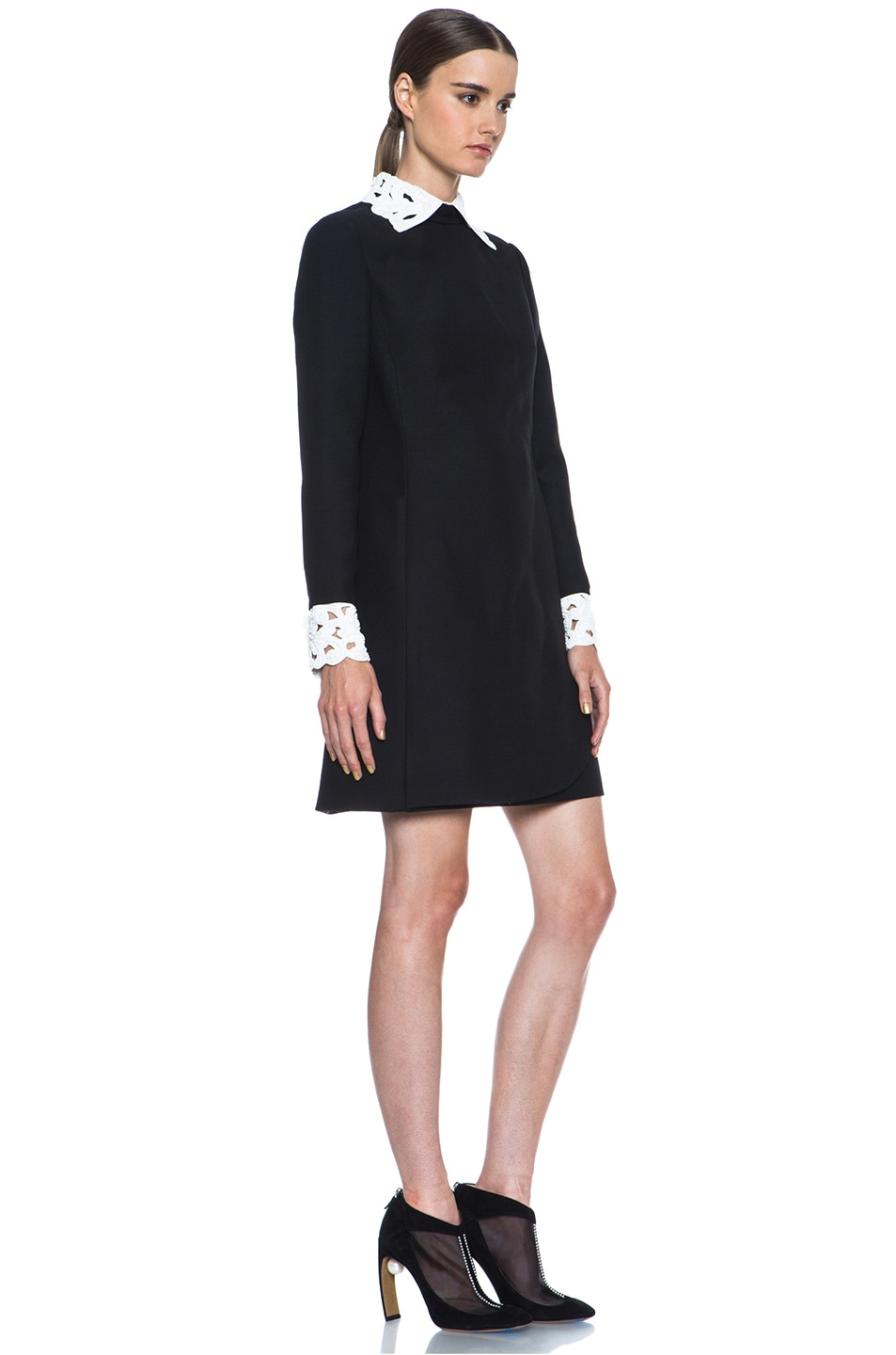 Image 3 of Valentino Embroidered Collar and Cuff Wool-Blend Dress in Black