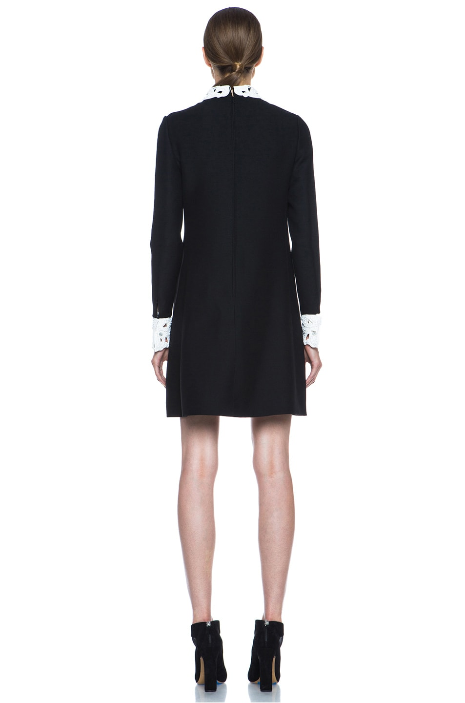 Image 4 of Valentino Embroidered Collar and Cuff Wool-Blend Dress in Black