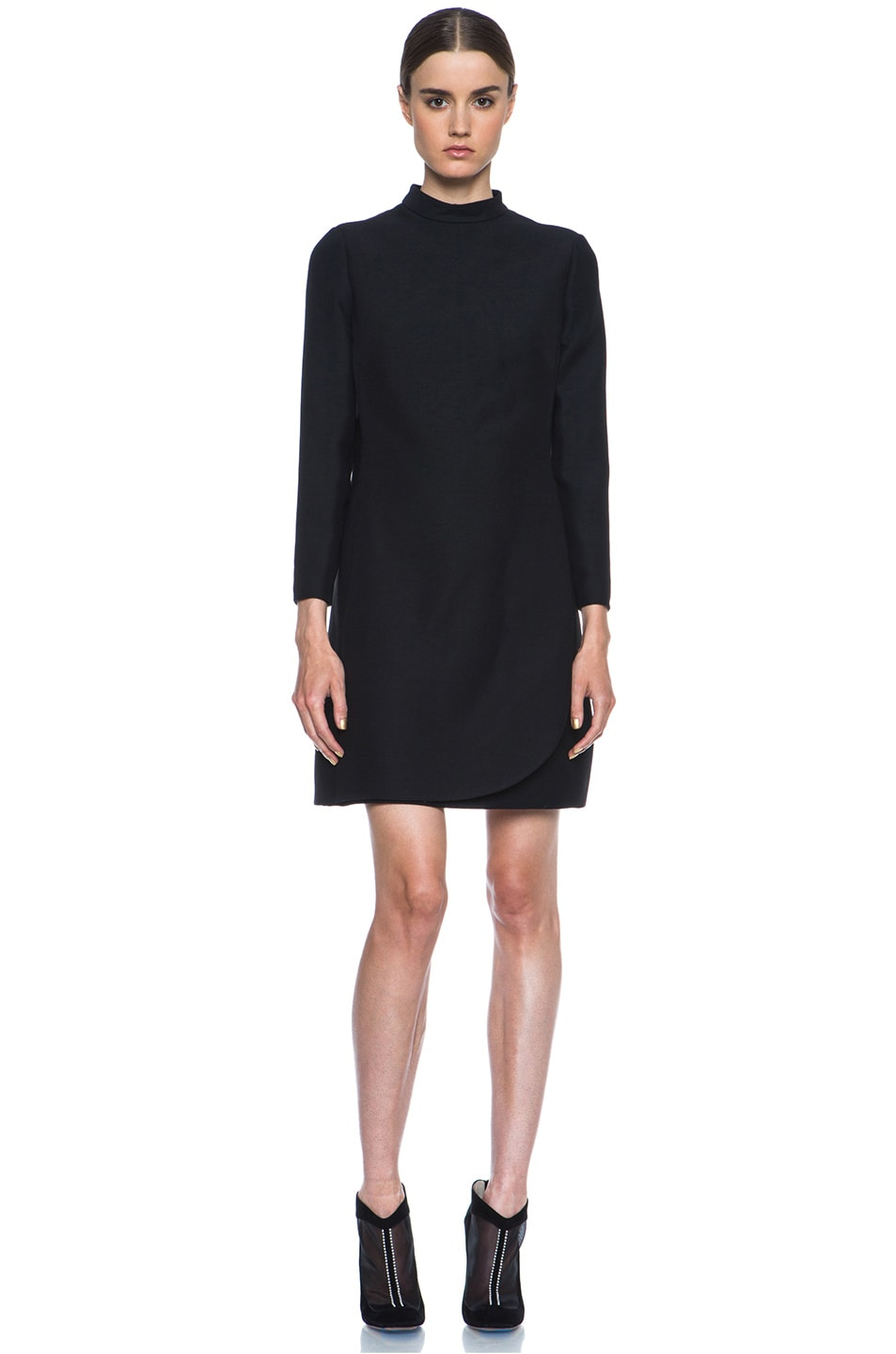 Image 5 of Valentino Embroidered Collar and Cuff Wool-Blend Dress in Black