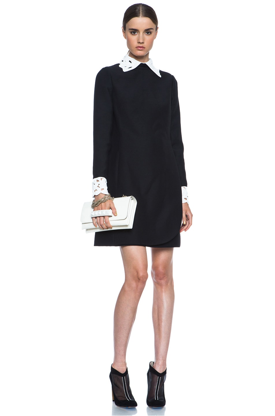 Image 6 of Valentino Embroidered Collar and Cuff Wool-Blend Dress in Black