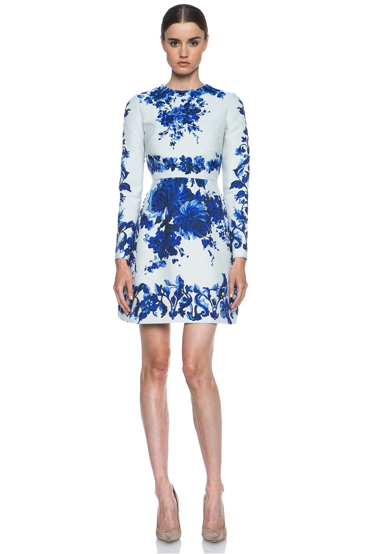 Image 1 Of Valentino Flare Skirt Silk Blend Dress In Blue Multi