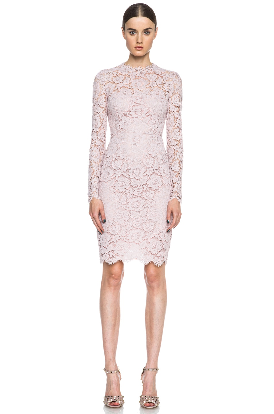 Image 1 of Valentino Lace Knit Dress in Rose Couture