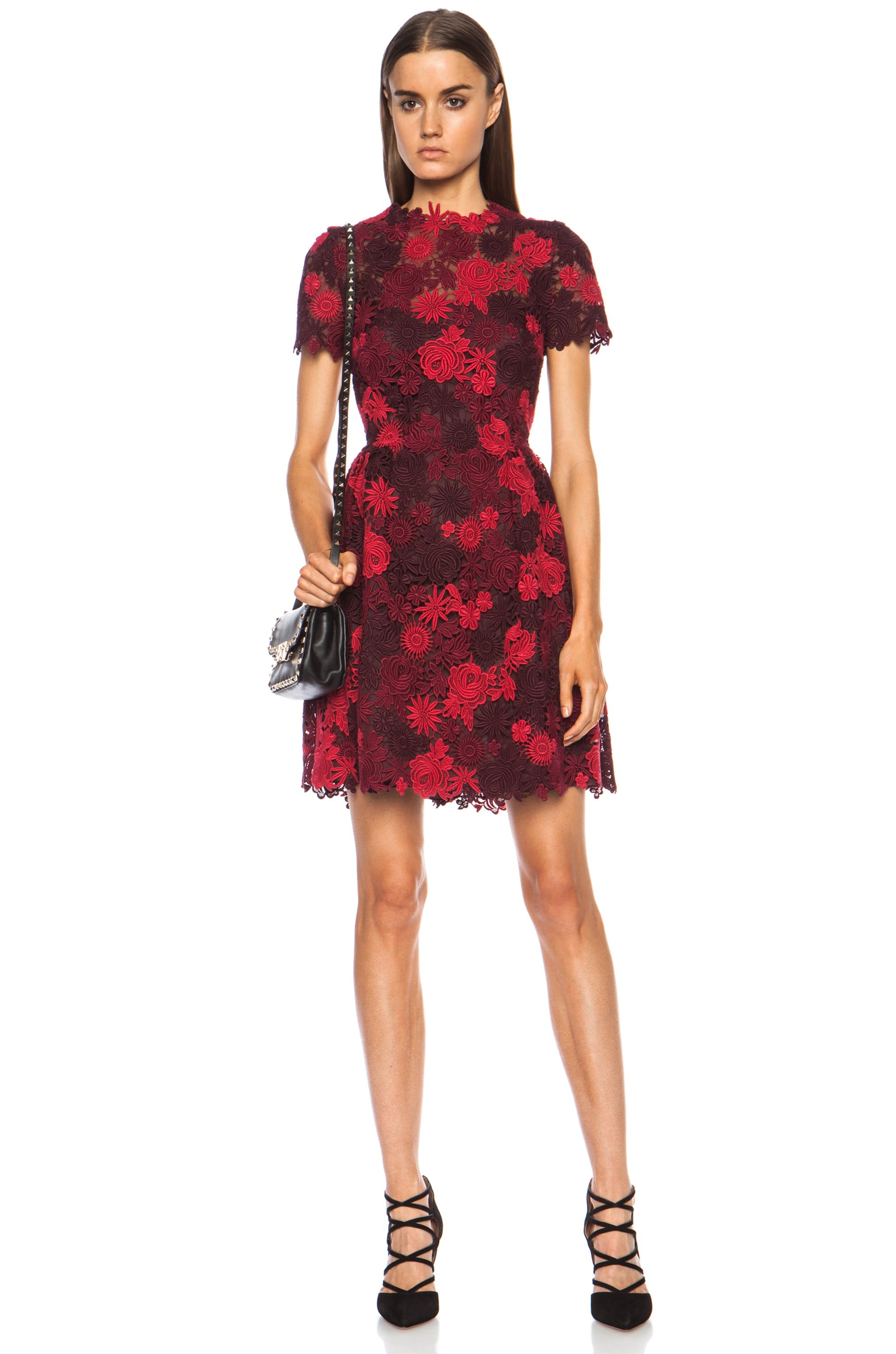 Image 1 of Valentino Macrame Lace Bambolina Dress in Scarlet