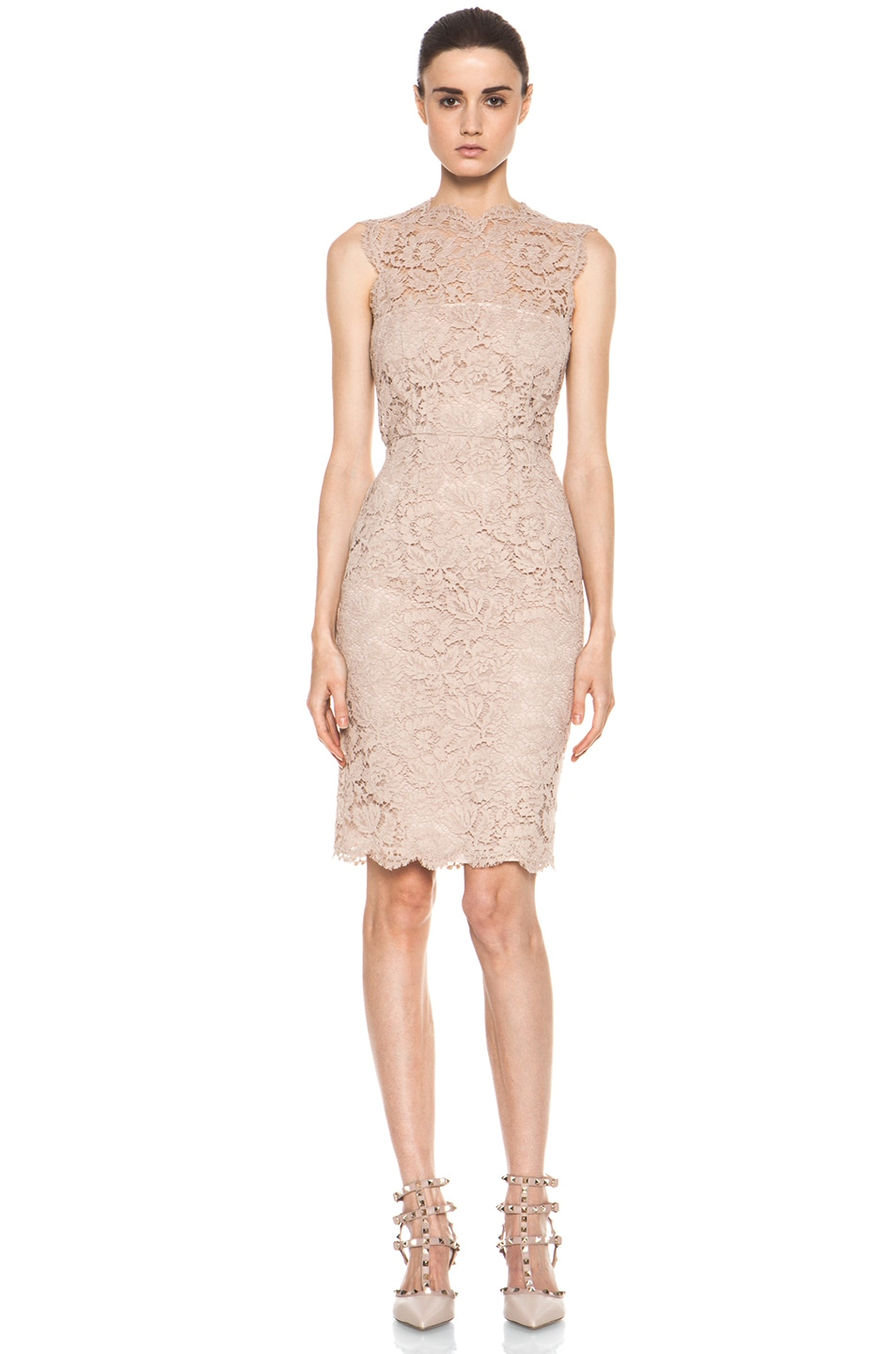 Valentino Tonal Lace Dress in Nude | FWRD