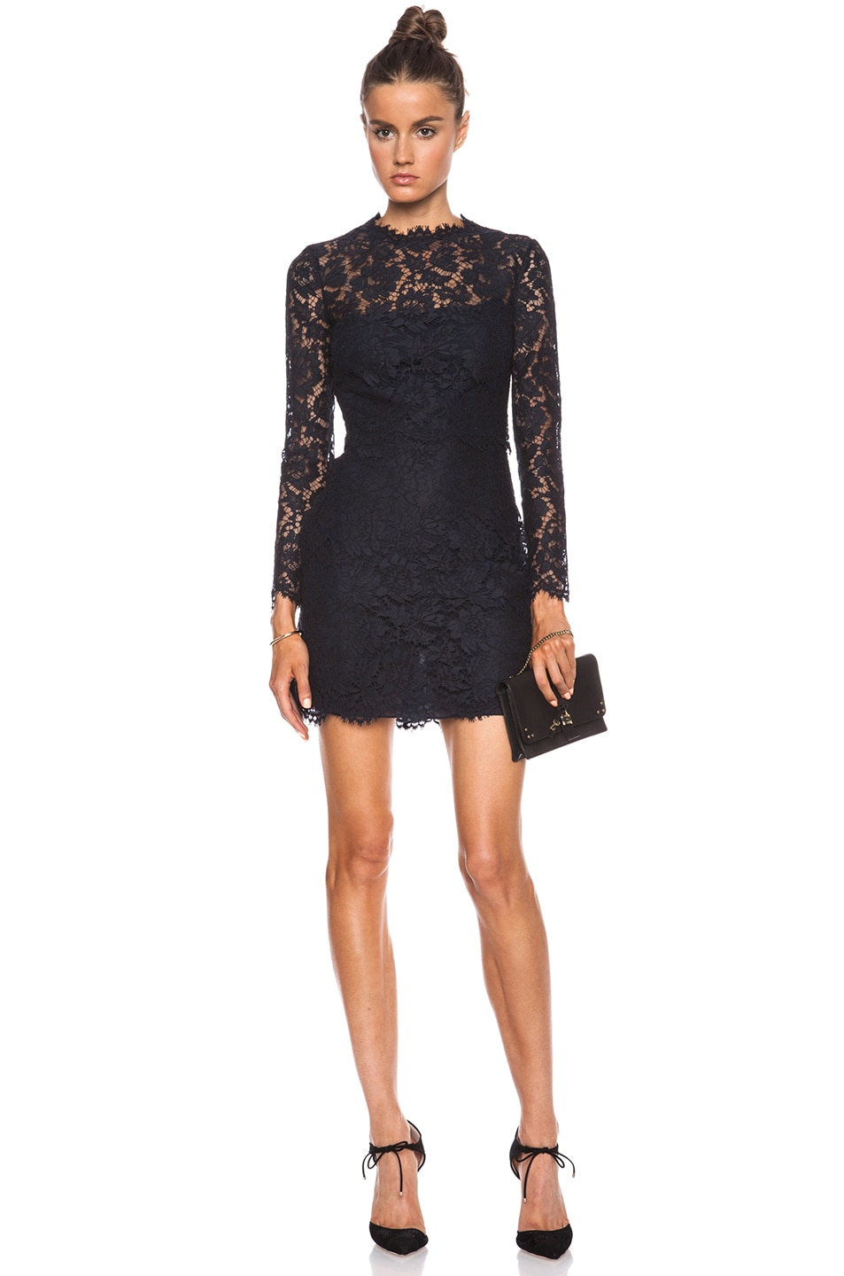 Image 1 of Valentino Lace Knit Dress in Navy