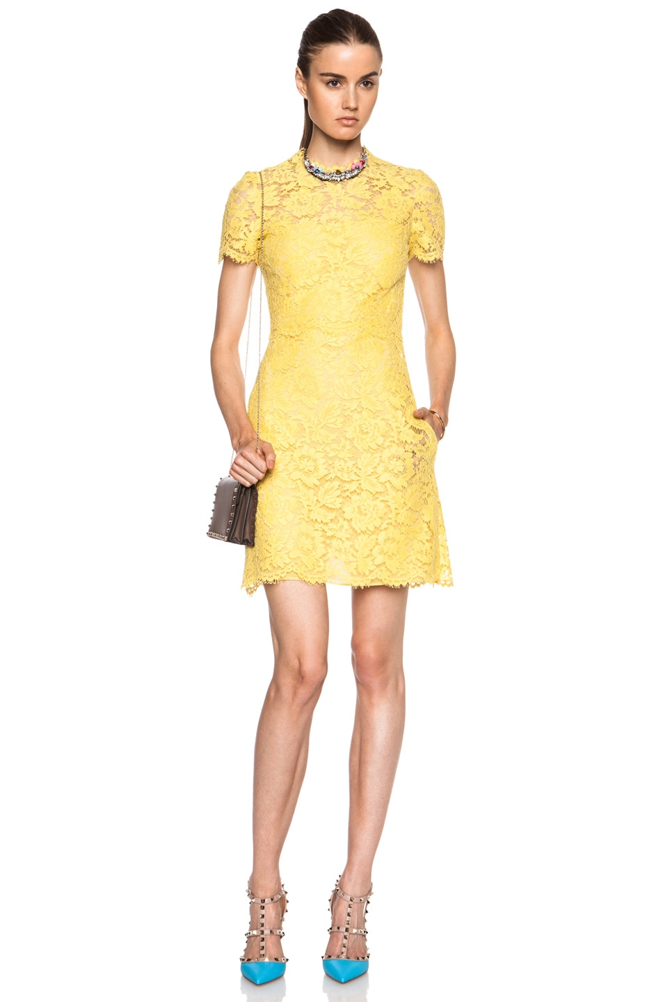 Image 1 of Valentino Heavy Cotton-Blend Lace Dress in Sun