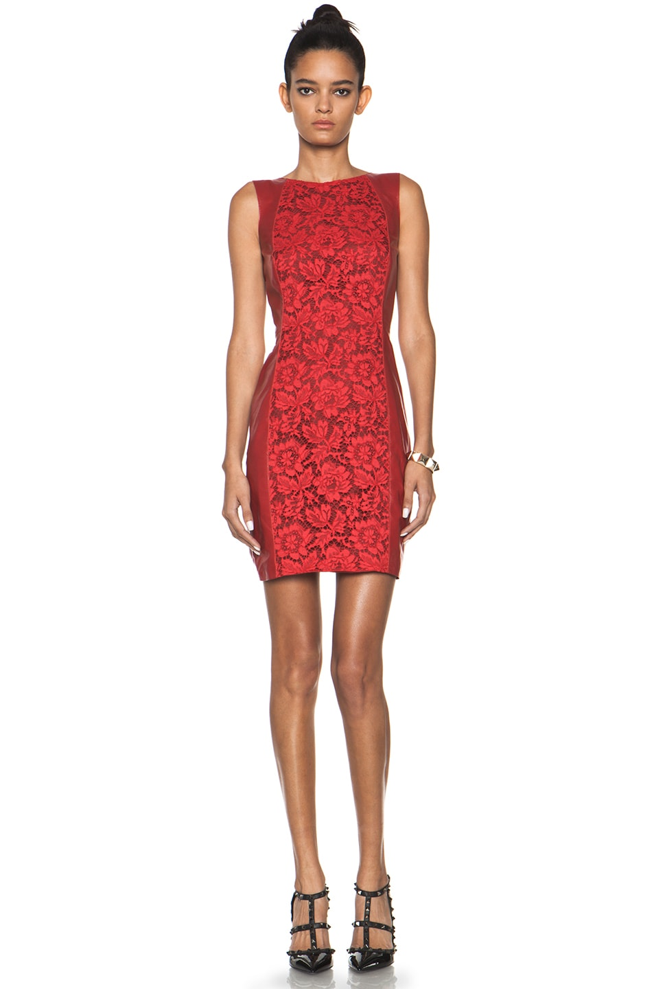 Image 1 of Valentino Leather and Lace Dress in Red