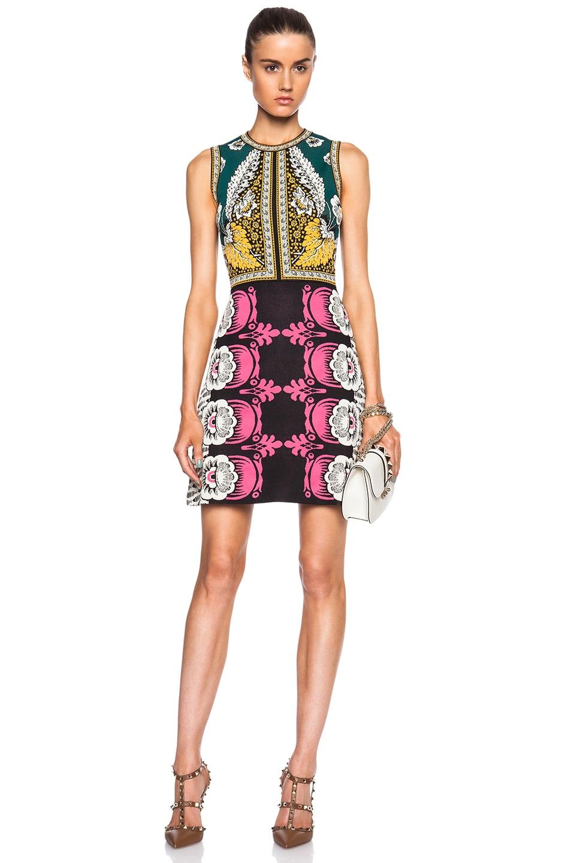 Image 1 of Valentino Sleeveless Dress in Black, Green & Yellow