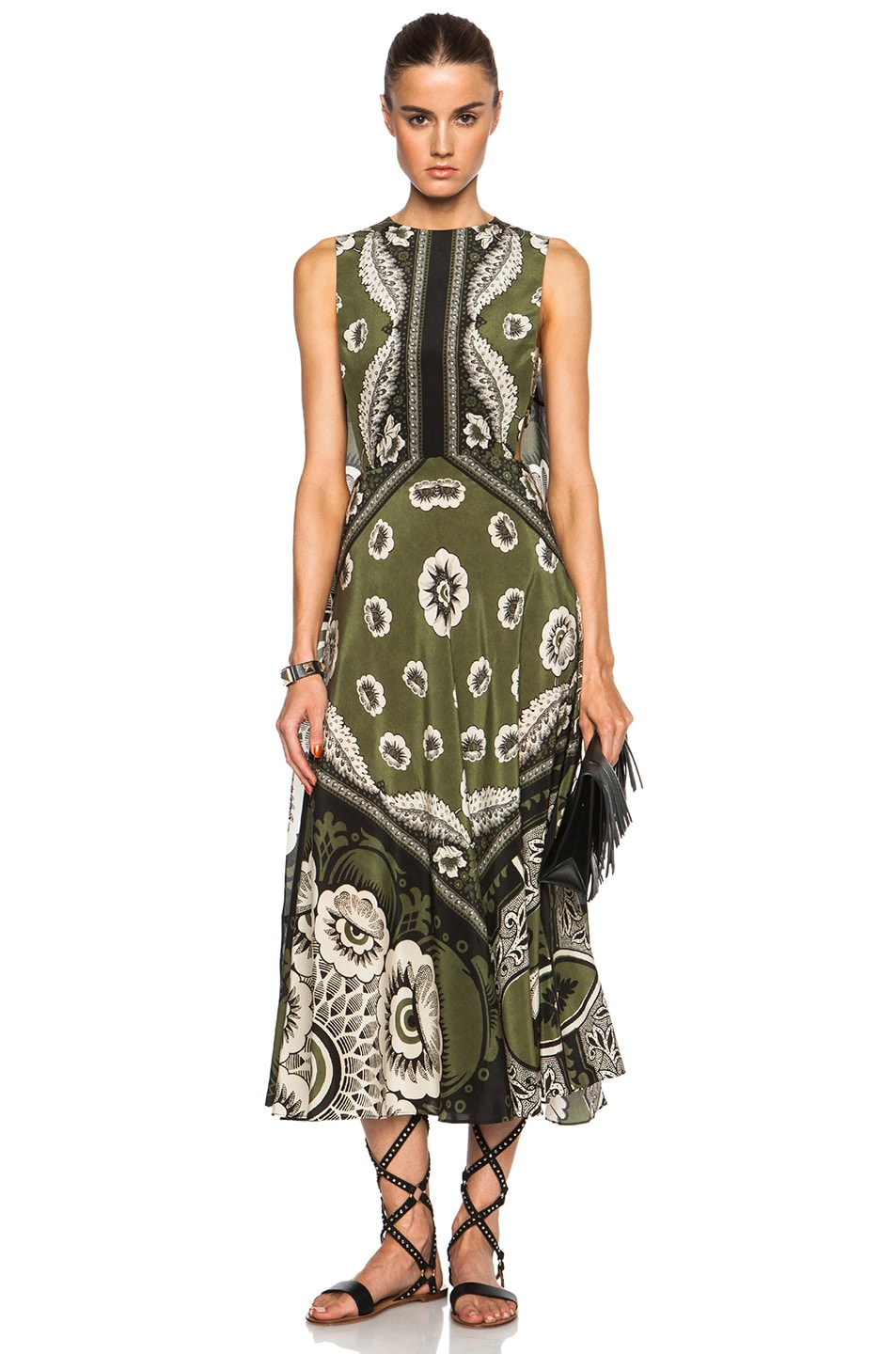Image 1 of Valentino Foulard Print Half Cape Dress in Verde