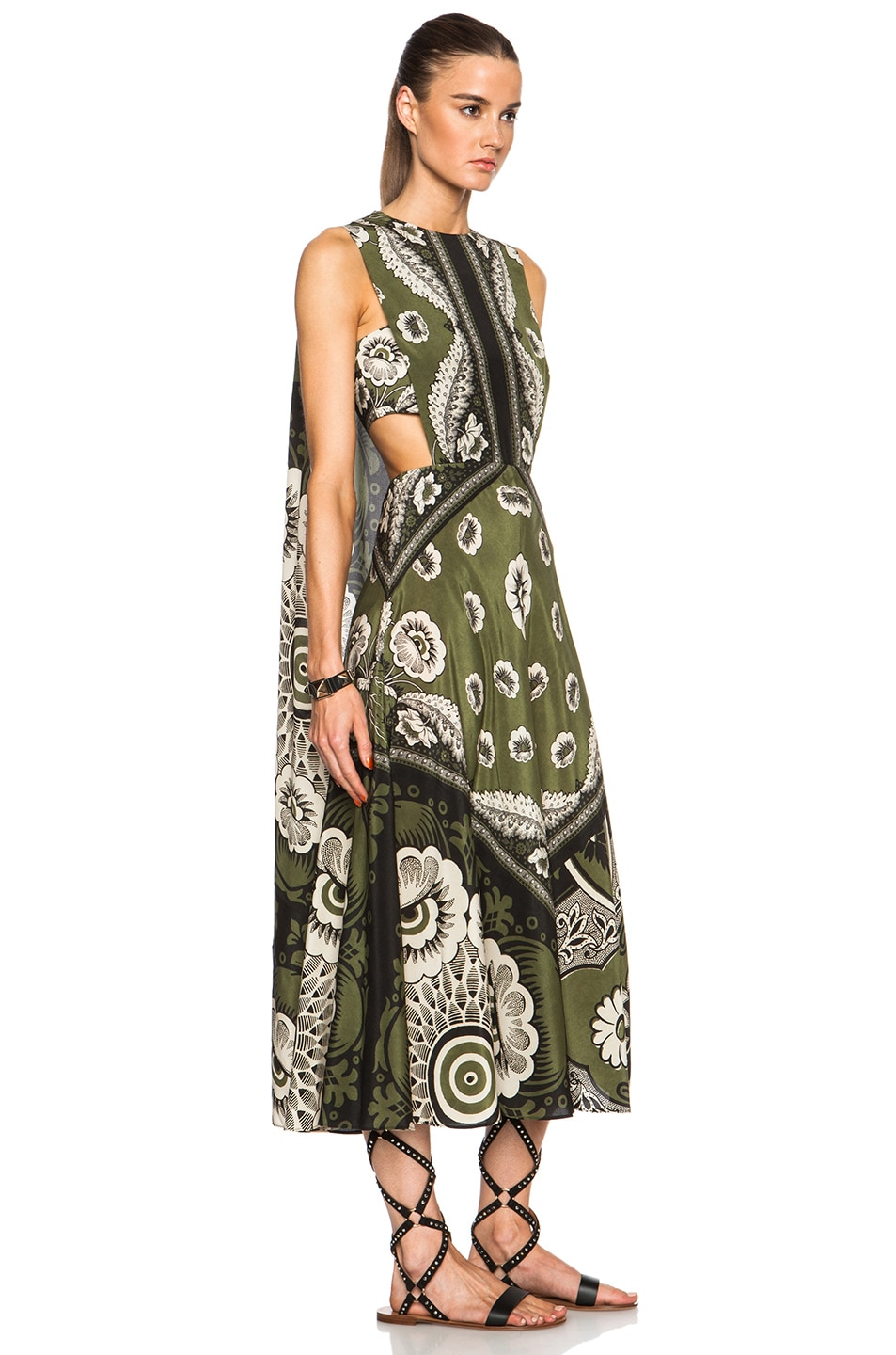 Image 3 of Valentino Foulard Print Half Cape Dress in Verde