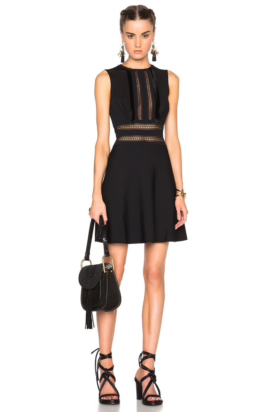 Image 1 of Valentino Sleeveless A Line Dress in Black