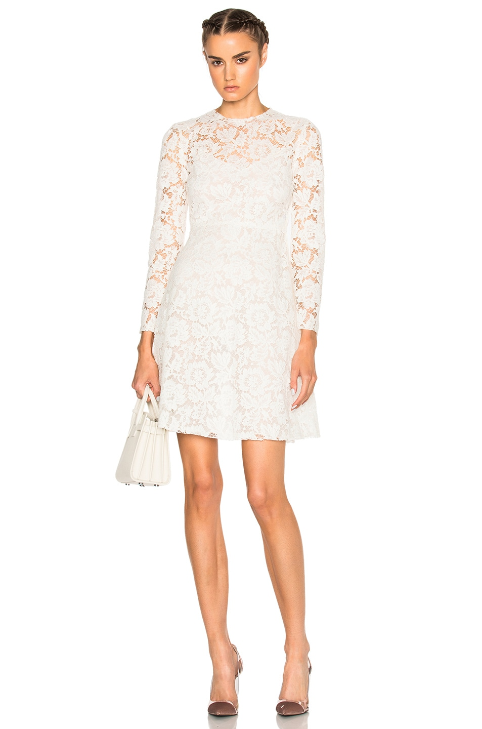 Image 1 of Valentino Long Sleeve Lace Dress in Avorio