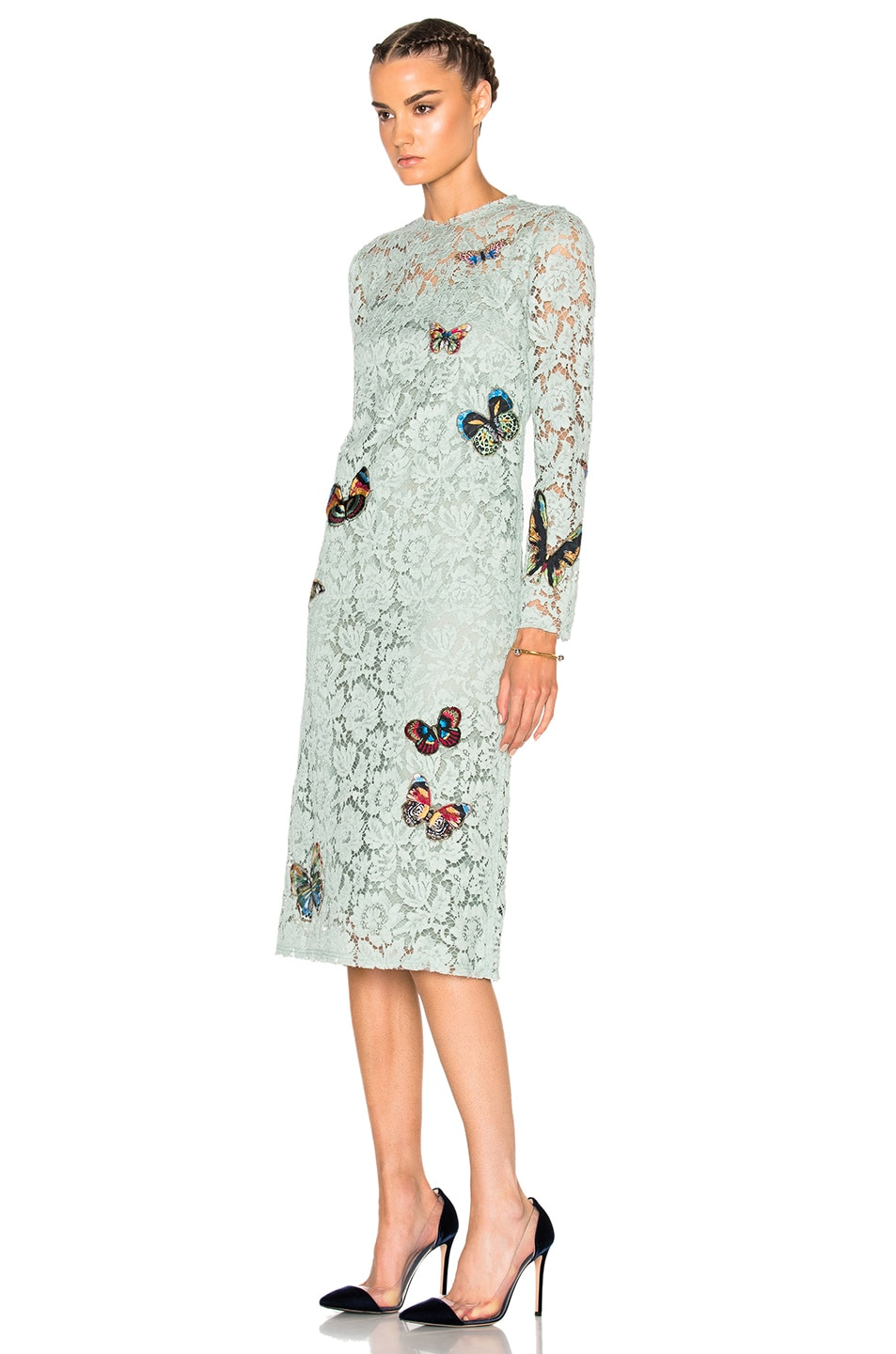 85a9f1b009 Valentino Long Sleeve Embroidered Dress in Pale Green | FWRD