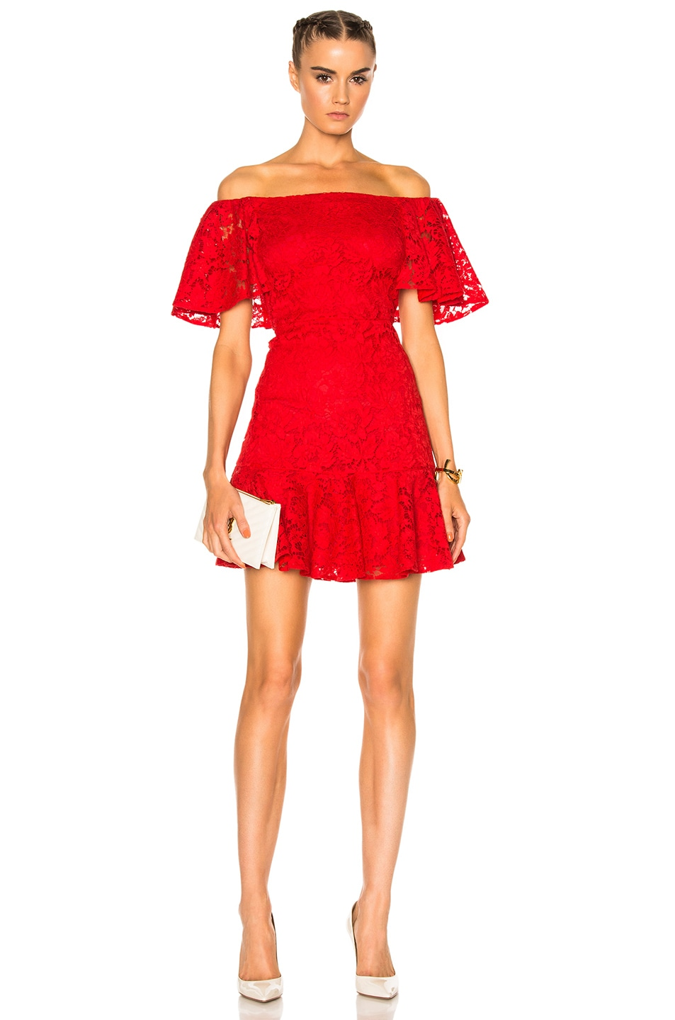 efdccb95341 Image 1 of Valentino Heavy Lace Off The Shoulder Dress in Red
