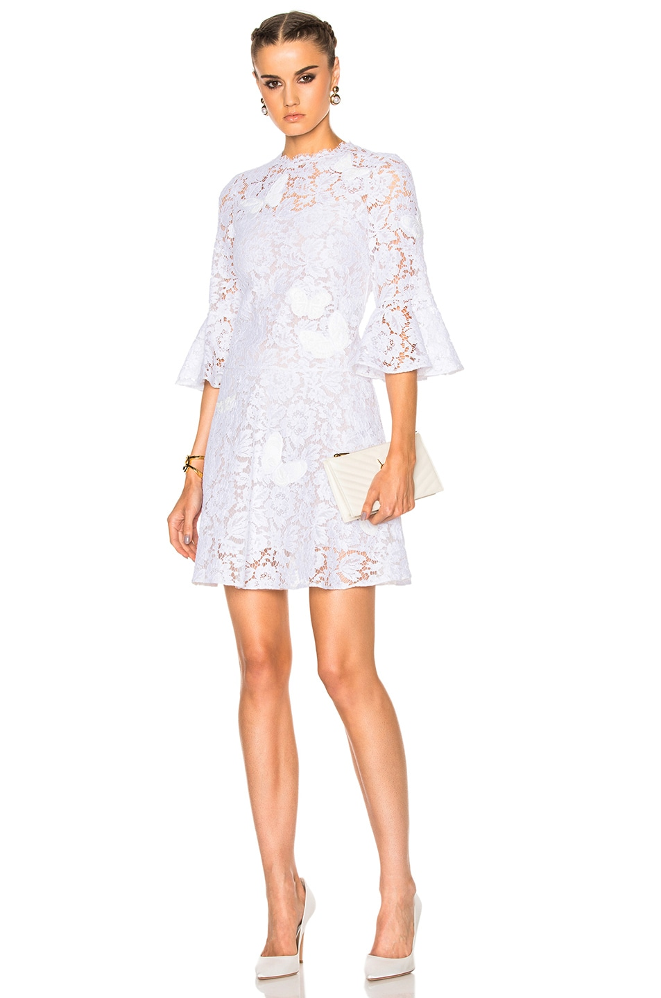 e449b277cd Valentino Embroidered Lace Dress in White | FWRD