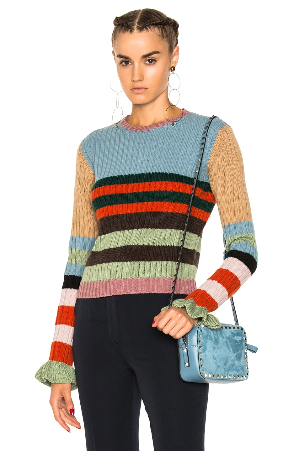 Image 1 of Valentino Striped Collared Sweater in Multicolor