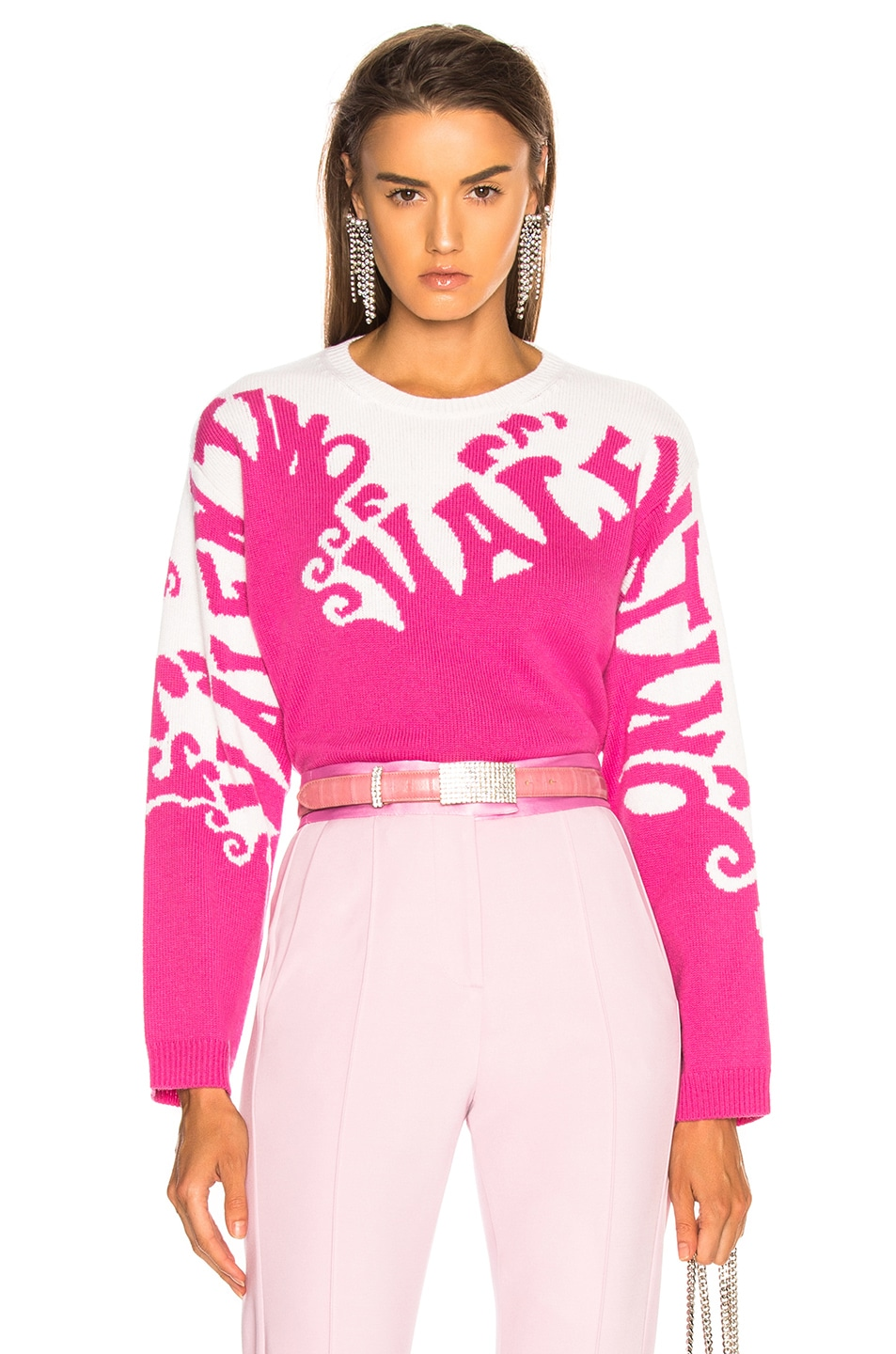 Image 1 of Valentino Logo Waves Sweater in Pink Orchid & Ivory