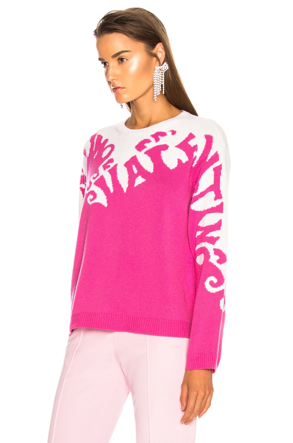 Image 4 of Valentino Logo Waves Sweater in Pink Orchid & Ivory
