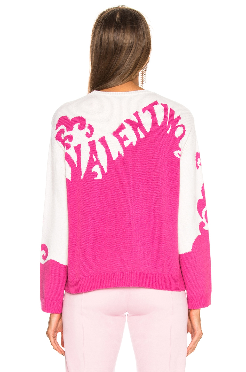 Image 5 of Valentino Logo Waves Sweater in Pink Orchid & Ivory