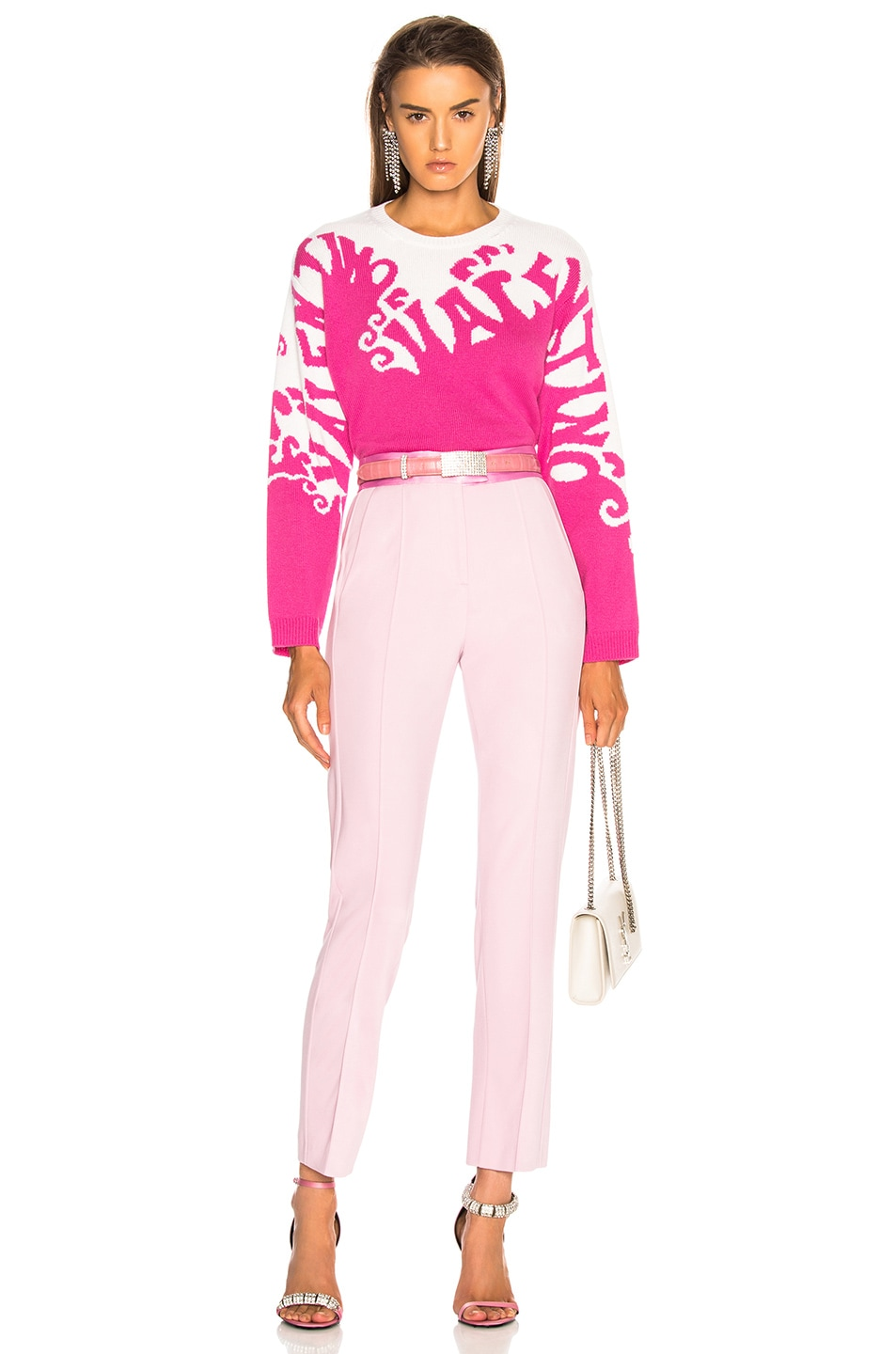 Image 6 of Valentino Logo Waves Sweater in Pink Orchid & Ivory