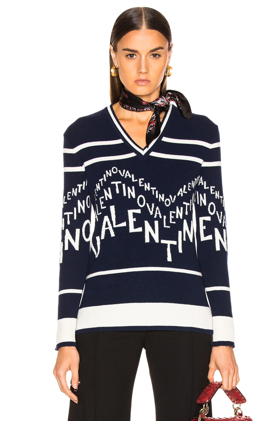 Image 1 of Valentino Chevron Sweater in Pure Blue & Ivory