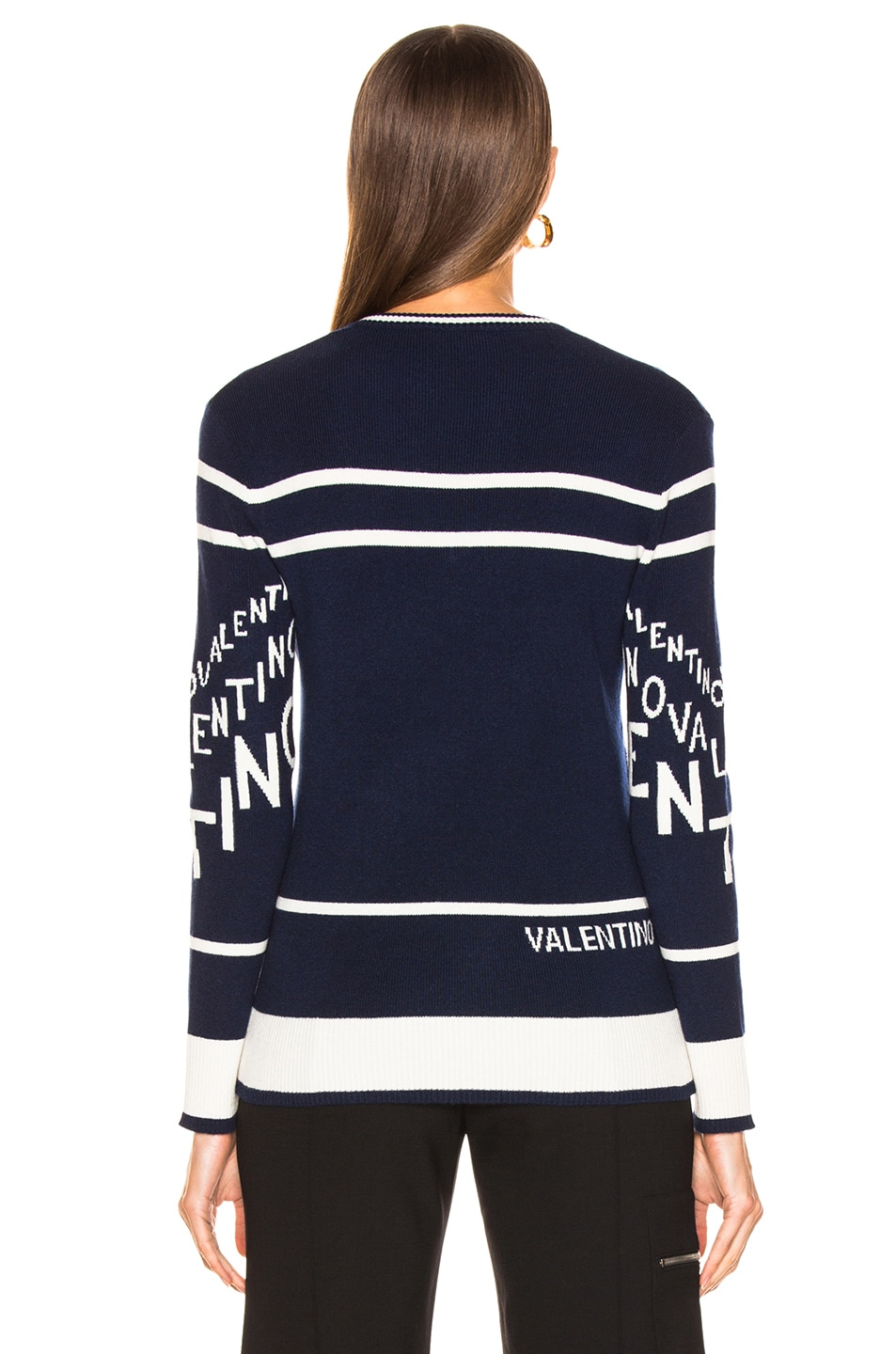 Image 3 of Valentino Chevron Sweater in Pure Blue & Ivory