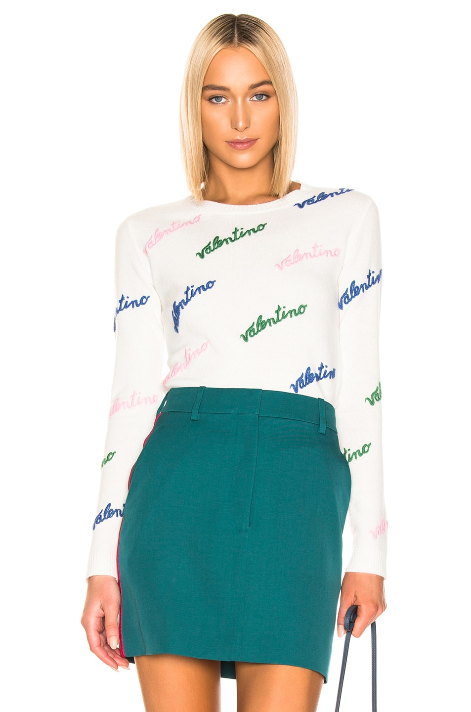 Image 1 of Valentino Embroidered Sweater in Ivory