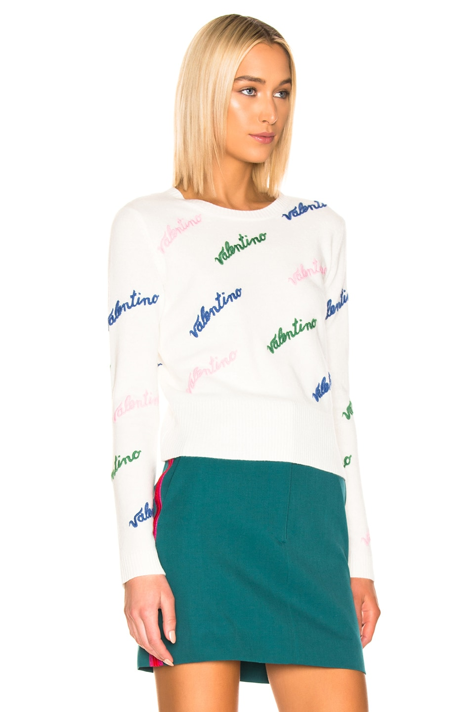 Image 2 of Valentino Embroidered Sweater in Ivory