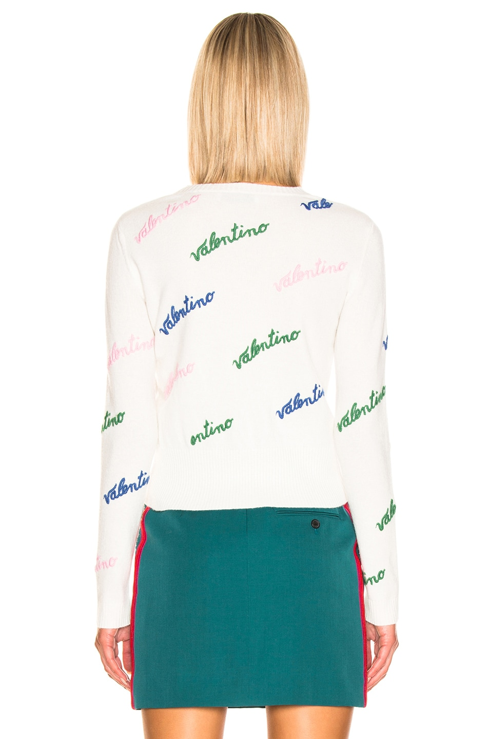 Image 3 of Valentino Embroidered Sweater in Ivory