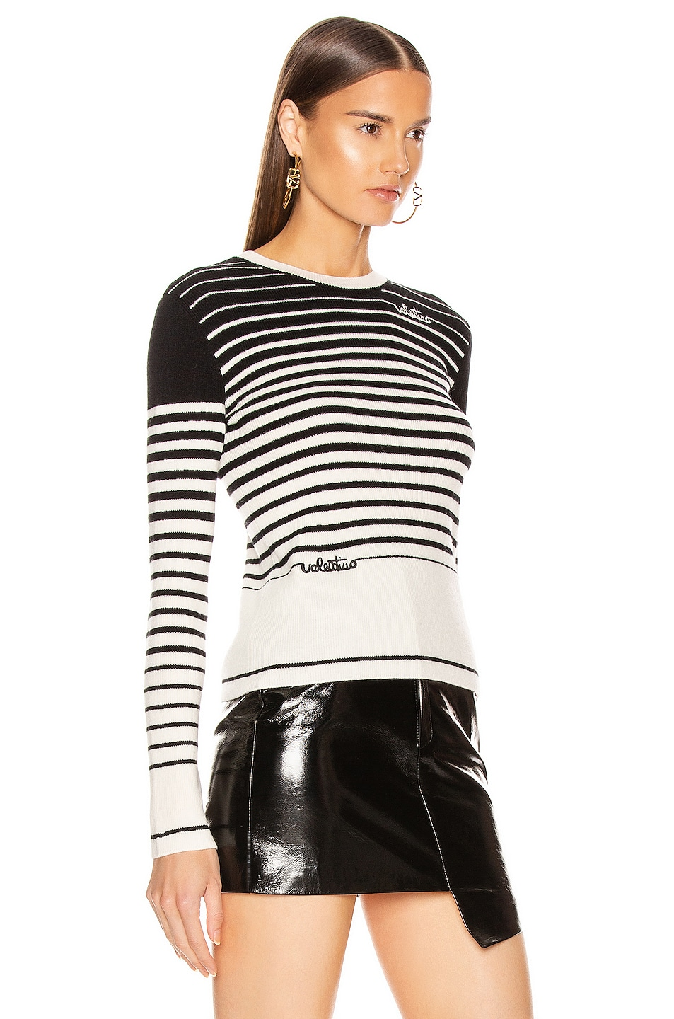 Image 2 of Valentino Long Sleeve Striped Sweater in White & Black