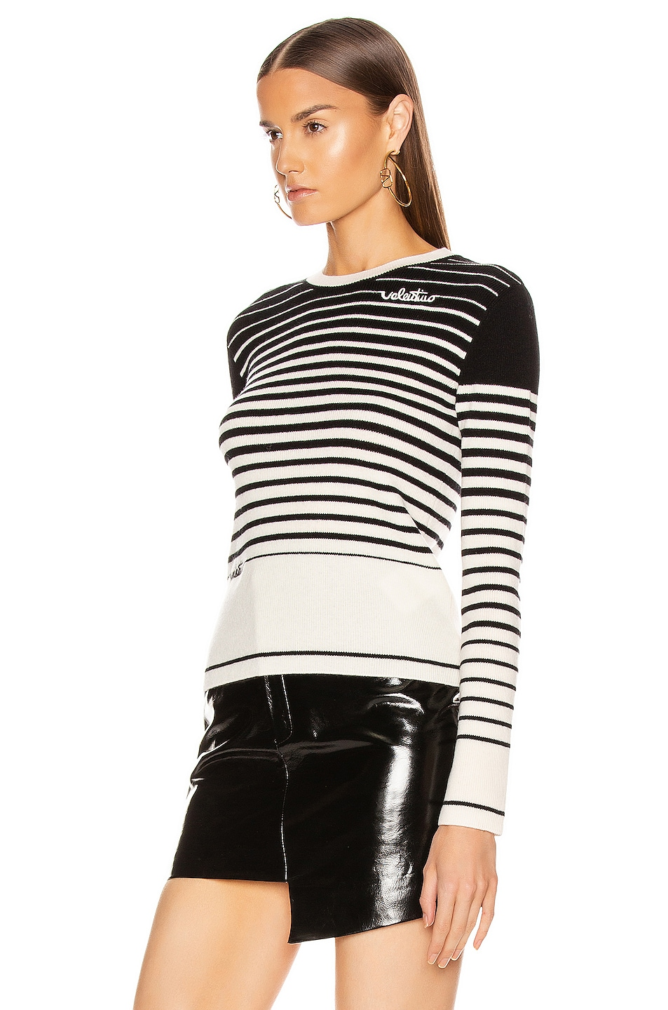 Image 3 of Valentino Long Sleeve Striped Sweater in White & Black