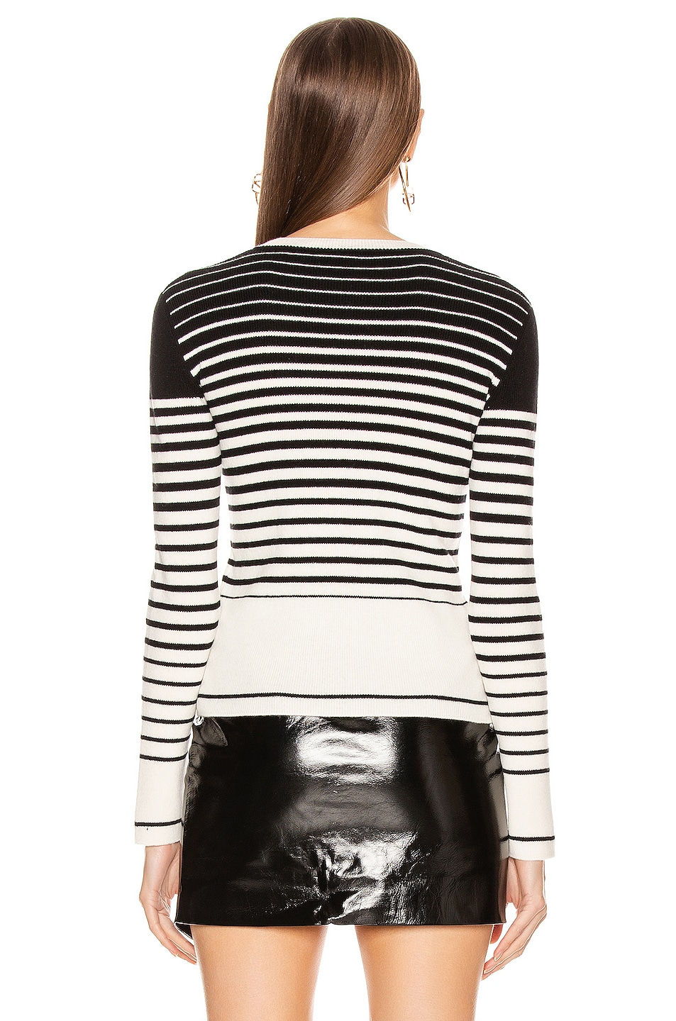 Image 4 of Valentino Long Sleeve Striped Sweater in White & Black