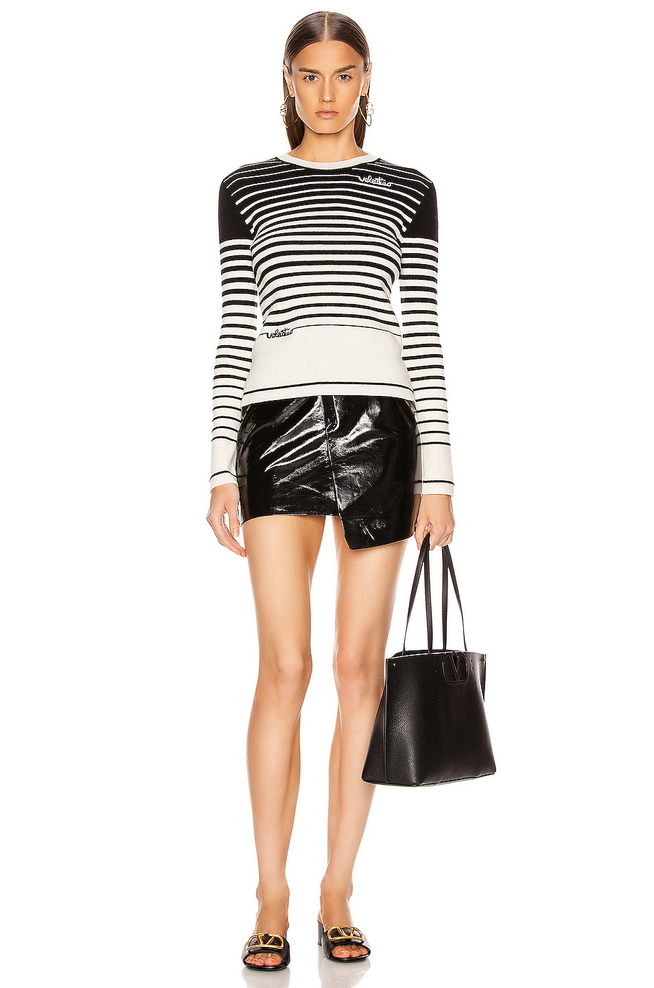 Image 5 of Valentino Long Sleeve Striped Sweater in White & Black