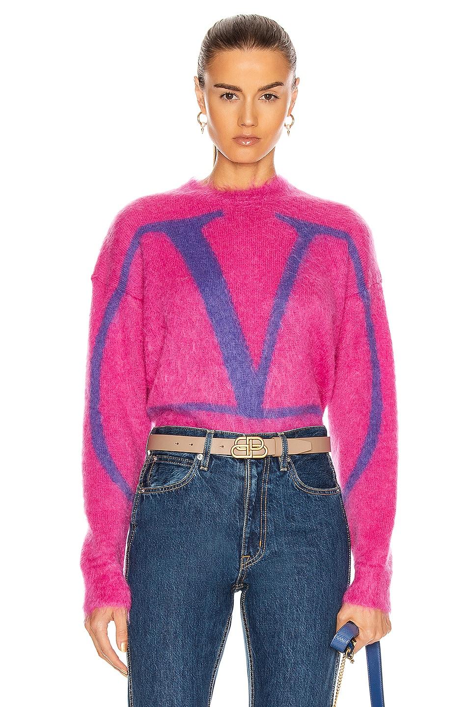 Image 1 of Valentino Logo Sweater in Shocking Pink & Viola