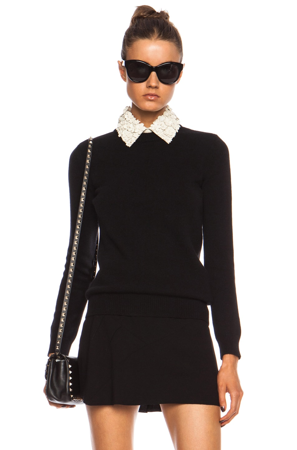 Image 1 of Valentino Crewneck Wool-Blend Sweater with Leather Flower Collar in Black