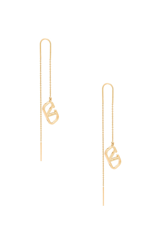 Image 1 of Valentino Garavani VLogo Dangle Earrings in Oro