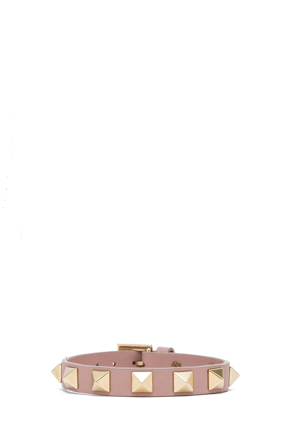 Image 1 of Valentino Small Rockstud Calfskin Bracelet in Poudre